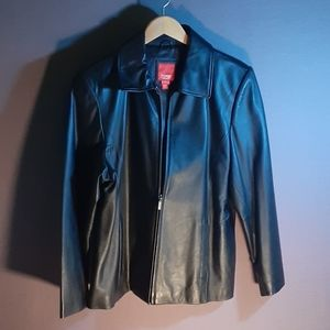Esprit black soft leather zip front jacket Large